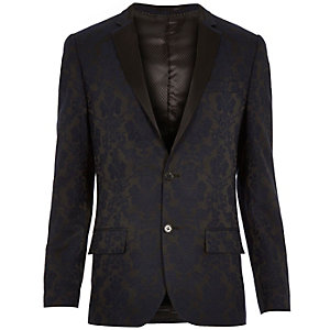 Navy floral print slim suit jacket