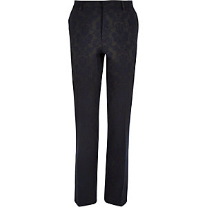 Navy floral print slim suit trousers