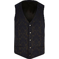 Navy floral print suit waistcoat