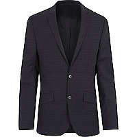 Navy slim subtle grid print suit jacket