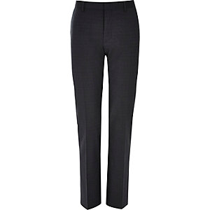 Navy subtle grid print slim suit trousers