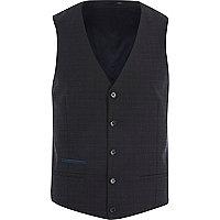 Navy subtle grid print waistcoat