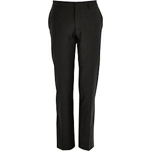Black wool-blend slim suit pants