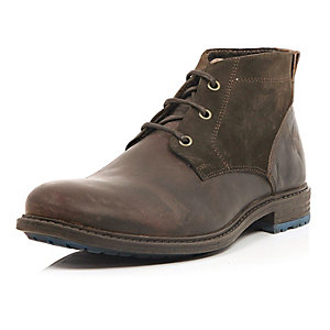 Brown leather paneled chukka boot