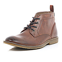 Brown leather lace up mid top boots