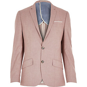 Red linen-blend smart blazer