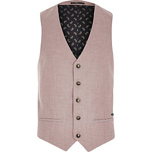 Red linen-blend smart waistcoat