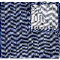 Navy herringbone textured handkerchief