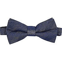Navy herringbone textured bow tie