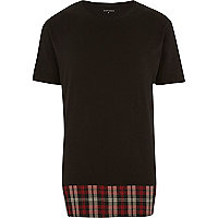 Black Antioch longer length flannel t-shirt