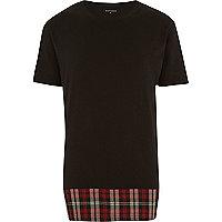 Black Antioch longer length flannel t-shirt