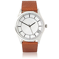 Light brown minimalist face watch