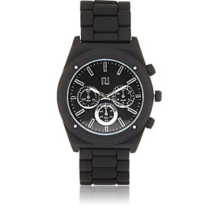 Black chunky metal strap watch