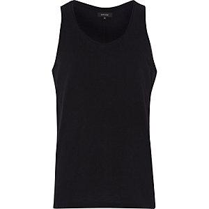 Black curve hem side zip vest