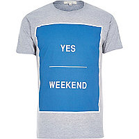 Grey square print weekend t-shirt