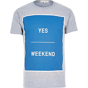 Grey square print weekend t-shirt