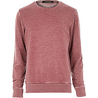 Red washed long sleeve sweatshirt