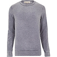 Navy washed long sleeve sweatshirt
