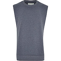 Blue marl sleeveless sweatshirt
