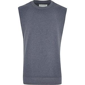 Blue marl sleeveless sweatshirt