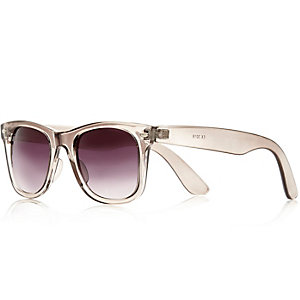 Grey crystal retro sunglasses