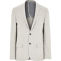 Ecru textured slim blazer