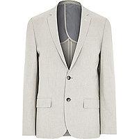 Ecru textured linen-blend slim blazer