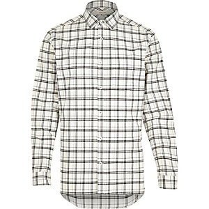 Ecru check long sleeve shirt