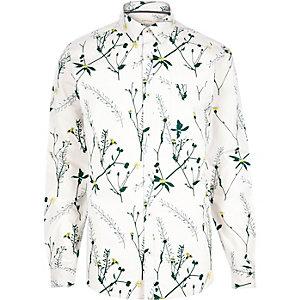 Ecru ornamental floral print shirt