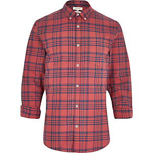 Red bleached check shirt