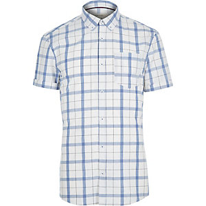 Ecru check short sleeve shirt