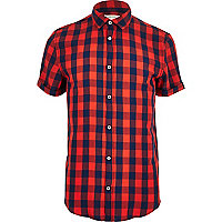 Red and blue check short sleeve shirt