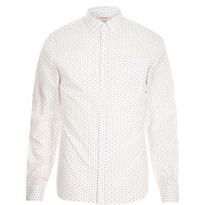 White micro retro print long sleeve shirt