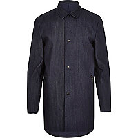 Navy denim mac coat