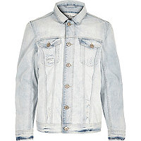 Blue washed fade denim jacket