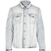 Blue washed fade denim jacket