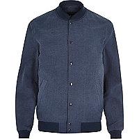 Blue seersucker textured bomber jacket