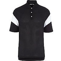 Black RI Studio mesh panelled polo shirt