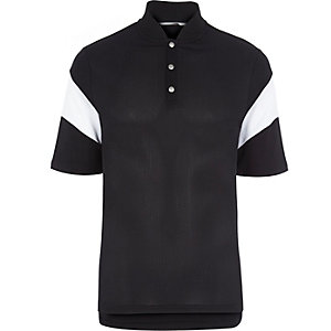 Black RI Studio mesh panelled polo shirt