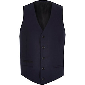 Navy wool-blend button up vest