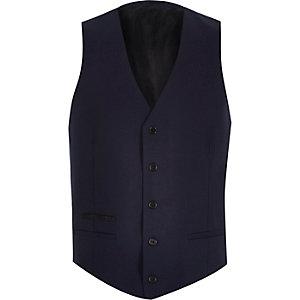 Navy wool-blend button up vest