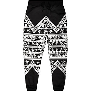 Black Jaded ying yang print joggers