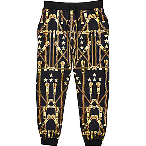 Black Jaded gold zip print joggers