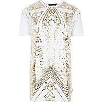 White Jaded ying yang print t-shirt