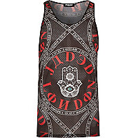 Black Jaded hamsa print mesh vest
