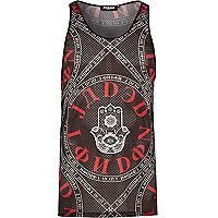 Black Jaded hamsa print mesh vest