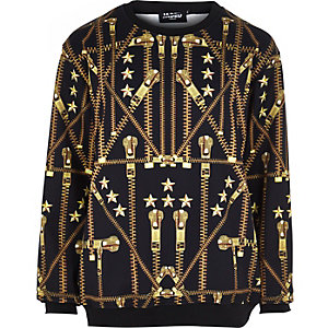 Black Jaded gold zip print sweatshirt