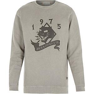 Grey Jack & Jones Vintage printed sweatshirt