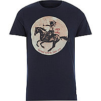 Navy Jack & Jones Vintage horse print t-shirt