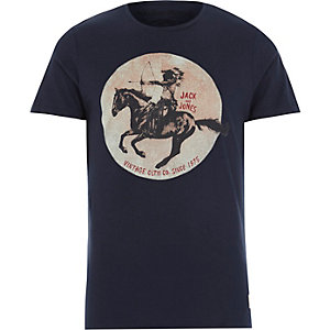 Navy Jack & Jones Vintage horse print t-shirt